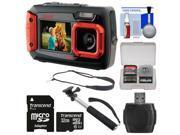 Coleman Duo 2V9WP Dual Screen Shock & Waterproof Digital Camera (Red) with 32GB Card + Selfie Stick Monopod + Sling Strap + Kit