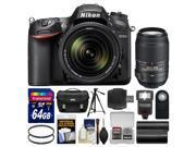 Nikon D7200 Wi-Fi Digital SLR Camera & 18-140mm VR DX Lens with 55-300mm VR Lens + 64GB Card + Case + Flash + Battery + Tripod + Filters + Kit