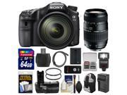 Sony Alpha A77 II Wi-Fi Digital SLR Camera & 16-50mm Lens with 70-300mm Lens + 64GB Card + Backpack + Flash + Battery + Charger + Grip + Kit