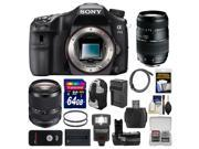 Sony Alpha A77 II Wi-Fi Digital SLR Camera Body with 18-135mm & 70-300mm Lenses + 64GB Card + Backpack + Flash + Battery & Charger + Kit