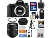 Canon EOS Rebel T6s Wi-Fi Digital SLR Camera Body with Tamron 18-200mm Lens + 32GB Card + Case + Filter + Tripod + Diffusers + Kit