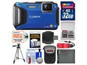 Panasonic Lumix DMC-TS6 Tough Shock & Waterproof Wi-Fi GPS Digital Camera (Blue) with 32GB Card + Case + Battery + Tripod + Float Strap + Kit
