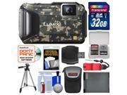 Panasonic Lumix DMC-TS6 Tough Shock & Waterproof Wi-Fi GPS Digital Camera (Camo) with 32GB Card + Case + Battery + Tripod + Float Strap + Kit