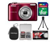 Nikon Coolpix L29 Digital Camera (Red) - Factory Refurbished with 8GB Card + Case + Flex Tripod + Kit