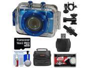 Vivitar DVR785HD Waterproof Action Video Camera Camcorder (Blue) with Helmet & Bike Mounts with 16GB Card + Case + Kit