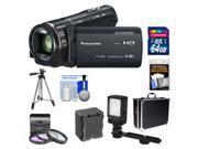 Panasonic HC-X920 3MOS Ultrafine Full HD Wi-Fi Video Camera Camcorder (Black) with 64GB Card + Battery + Hard Case + LED Light + 3 Filters + Tripod + Accessory Kit