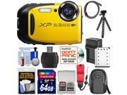 Fujifilm FinePix XP80 Shock & Waterproof Wi-Fi Digital Camera (Yellow) with 64GB Card + Battery & Charger + Case + Flex Tripod + Strap + Kit