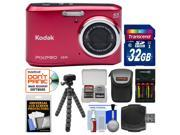 Kodak PixPro Friendly Zoom FZ41 Digital Camera (Red) with 32GB Card + Case + Batteries + Charger + Flex Tripod + Kit