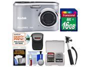 Kodak PixPro Friendly Zoom FZ41 Digital Camera (Silver) with 16GB Card + Case + Selfie Stick Monopod + Kit