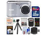 Kodak PixPro Friendly Zoom FZ41 Digital Camera (Silver) with 32GB Card + Case + Batteries + Charger + Flex Tripod + Kit