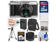 Olympus Stylus SH-2 Wi-Fi Digital Camera (Silver) with 32GB Card + Case + Battery & Charger + Tripod + Kit