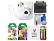 Fujifilm Instax Mini 25 Instant Film Camera (White) with 20 Twin & 10 Rainbow Prints + Album + Case + Battery + Kit