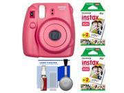Fujifilm Instax Mini 8 Instant Film Camera (Raspberry) with 40 Instant Film + Cleaning Kit