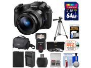 Sony Cyber-Shot DSC-RX10 II 4K Wi-Fi Digital Camera with 64GB Card + Battery & Charger + Case + Filters + Tripod + Flash + Kit