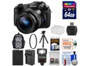 Sony Cyber-Shot DSC-RX10 II 4K Wi-Fi Digital Camera with 64GB Card + Battery & Charger + Flash + Backpack + Flex Tripod + Kit