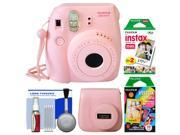 Fujifilm Instax Mini 8 Instant Film Camera (Pink) with 20 Twin & 10 Rainbow Prints + Case + Kit