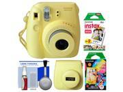 Fujifilm Instax Mini 8 Instant Film Camera (Yellow) with 20 Twin & 10 Rainbow Prints + Case + Kit