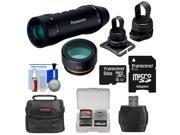 Panasonic HX-A1 HD Wi-Fi Waterproof POV Action Video Camera Camcorder (Black) with Multi & Tripod Mounts + 64GB Card + Case + Reader + Kit