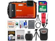 Nikon Coolpix AW130 Shock & Waterproof GPS Digital Camera (Orange) - Factory Refurbished with 16GB Card + Battery + Case + Flex Tripod + Floating Strap + Kit