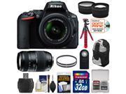 Nikon D5500 Wi-Fi Digital SLR Camera & 18-55mm VR DX Lens (Black) - Factory Refurbished with 70-300mm Lens + 32GB Card + Backpack + Flex Tripod + Filters + Tele/Wide Lens Kit