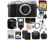 Panasonic Lumix DMC-GX8 4K Wi-Fi Digital Camera Body (Silver) with 35-100mm OIS Lens + 64GB Card + Battery + Charger + Case + Flash + Tripod + Kit