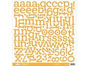 "Chippers Monochromatic Chipboard Alphabet Stickers 12""X12""-Tangerine"