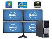 """Trading Computer System - Dell Precision T5500, 4 X Dell 24"""" inch Monitor with Display Stand, Intel 2X Quad Core Xeon 2.93GHZ 8 Core CPU with 16 Threads, 32GB of RAM, *NEW* 500GB SSD and *NEW* 2TB HDD"""