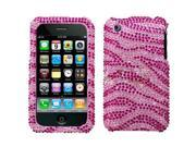 Zebra Skin(Hot Pink) Diamante Protector Faceplate Cover For APPLE iPhone 3GS/3G
