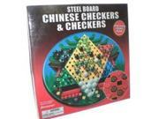Chinese Checkers And Checkers Round Steel Board Game With Marbles