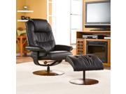 Ana Bonded Leather Recliner & Ottoman - Black
