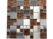Stainless Steel + Emperador Dark Glass Mix Mosaic