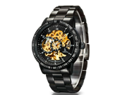 Men's Luxury Stainless Steel Skeleton Mechanical Wrist Watch With Japanese Automatic Movement - black and gold