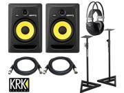 KRK RP8G3 RP8 G3 Rokit Powered 8 inch 2-way Studio Monitors with Stands Cables and HP AKG K44.