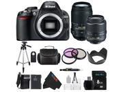 Nikon D3100 DSLR Camera with 18-55mm f/3.5-5.6 AF-S Nikkor Zoom Lens + Nikon 55-300mm f/4.5-5.6G ED VR AF-S DX Nikkor Zoom Lens for Nikon Digital SLR + Pixi-Basic Bundle