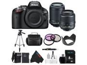 Nikon D5100 DSLR Camera with 18-55mm f/3.5-5.6 AF-S Nikkor Zoom Lens + Nikon 55-200mm f/4-5.6G ED IF AF-S DX VR [Vibration Reduction] Nikkor Zoom Lens + Pixi-Basic Bundle