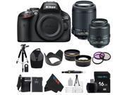 Nikon D5100 DSLR Camera with 18-55mm f/3.5-5.6 AF-S Nikkor Zoom Lens + Nikon 55-200mm f/4-5.6G ED IF AF-S DX VR [Vibration Reduction] Nikkor Zoom Lens + Pixi-Advanced Accessory Bundle
