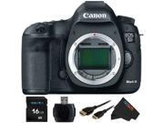 Canon EOS 5D Mark III Digital SLR Camera (Body) + Pixi-Basic 16GB Accessory Bundle Kit