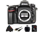 Nikon D610 Black 24.3 MP Digital SLR Camera (Body) + 8GB Pixi-Basic Accessory Bundle