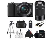 Sony a5100 16-50mm Interchangeable Lens Camera with 3-Inch Flip Up LCD with 16-50mm + Sony E 55-210mm F4.5-6.3 Lens for Sony E-Mount Cameras (Black) + Pixi-Basic Accessory Bundle