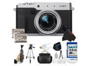 Fujifilm X30 12 MP Digital Camera with 3.0-Inch LCD (Silver) + 64GB Pixi-Advanced Accessory Bundle