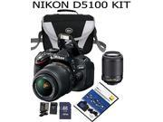 Nikon D5100 16.2 MP CMOS Digital SLR Camera Bundle with 18-55mm and 55-200mm VR AF-S Lenses+Case+DVD+Extra battery+extra charger+32 GB SD card