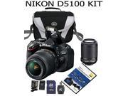 Nikon D5100 16.2 MP CMOS Digital SLR Camera Bundle with 18-55mm and 55-200mm VR AF-S Lenses+Case+DVD+Extra battery+extra charger+32 GB SD card+card reader