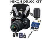 Nikon D5100 16.2 MP CMOS Digital SLR Camera Bundle with 18-55mm and 55-200mm VR AF-S Lenses+Case+DVD+Extra battery+extra charger+32 GB SD card+card reader+Cleaning pen