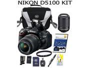 Nikon D5100 16.2 MP CMOS Digital SLR Camera Bundle with 18-55mm and 55-200mm VR AF-S Lenses+Case+DVD+Extra battery+extra charger+32 GB SD card+card reader+Cleaning pen+Cleaning Kit