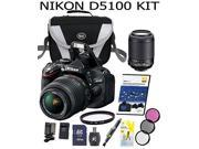 Nikon D5100 16.2 MP CMOS SLR Camera + 18-55mm and 55-200mm VR AF-S Lenses+Case+DVD+Extra battery+charger+32 GB SD card+card reader+Cleaning pen+Cleaning Kit+52mm UV Filter+52MM 3 pc Filter Kit
