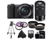 Sony a5100 16-50mm Interchangeable Lens Camera with 3-Inch Flip Up LCD with 16-50mm + Sony E 55-210mm F4.5-6.3 Lens for Sony E-Mount Cameras (Black) + Pixi-Advanced Accessory Bundle