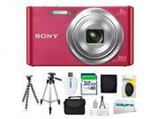 Sony DSC-W830 Digital Camera (Pink) + 32GB Pixi-Advanced I3ePro Accessory Bundle