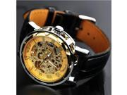 Mechanical watches Mens Watch, Steampunk Leather Black Wrist Watch, Mechanical watch, cool watches(WN-Gold)