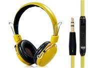 OVLENG V9 3.5mm Plug Stereo Headphones With Microphone1.2 m Cable Yellow