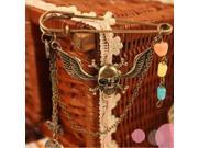 Popular Retro Unisex Brooches, Fashion Skeleton with Wing Shaped Candy Colour Link Chain Pin Brooch for Party
